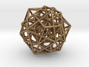 Icosa/Dodeca Combo w/nested Stellated Icosahedron  in Natural Brass