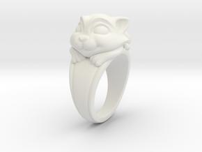 Cat Pet Ring - 18.19mm - US Size 8 in White Natural Versatile Plastic