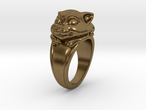 Cat Pet Ring - 18.19mm - US Size 8 in Natural Bronze