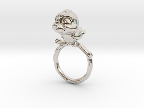 Bird Pet Ring - 17.35mm - US Size 7 in Rhodium Plated Brass