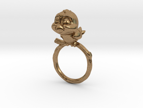 Bird Pet Ring - 18.89mm - US Size 9 in Natural Brass