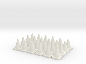 24 Small Traffic Cones in White Natural Versatile Plastic: 1:76