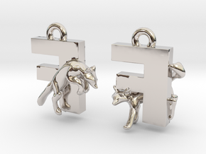 F Is For Fox in Rhodium Plated Brass