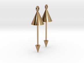 Earrings - Pendulum Dangle Earrings in Polished Brass (Interlocking Parts)