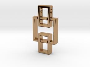 Geometric Pendant - Interlocked Rectangles in Polished Brass (Interlocking Parts)