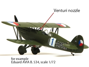 Venturi nozzle, scale 1/72 in Smoothest Fine Detail Plastic
