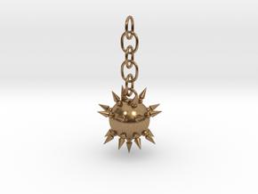 Flail Ball Earring in Interlocking Raw Brass