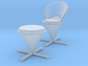 Miniature Cone Chair & Stool - Verner Panton in Smooth Fine Detail Plastic: 1:48