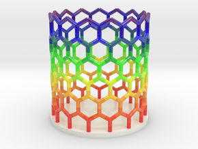 Rainbow Nanotube Pen Holder in Coated Full Color Sandstone