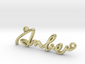 AMBER Script First Name Pendant in 18k Gold Plated Brass