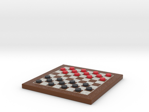 Checkers Board 1/12 Scale in Frame with Pieces in Full Color Sandstone