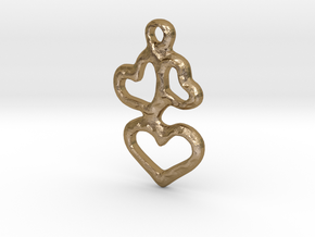 3 Hearts Pendant in Polished Gold Steel