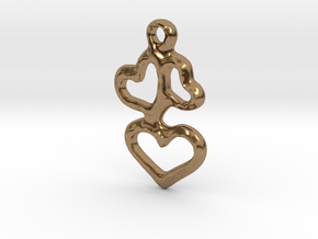 3 Hearts Pendant in Natural Brass