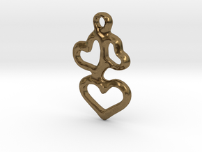 3 Hearts Pendant in Natural Bronze