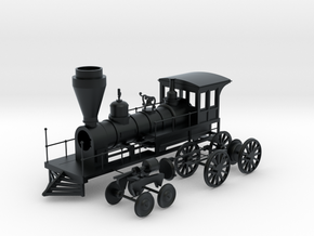 "HO ""Lawrence"" 4-4-0 Freight Locomotive in Black Hi-Def Acrylate"