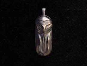 Sleeping Barn Owl Pendant in Polished Bronze Steel