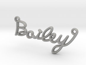 BAILEY Script First Name Pendant in Raw Aluminum