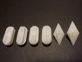 Radial Fin Dice in White Acrylic: Polyhedral Set