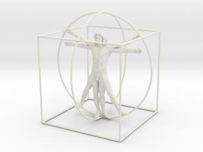 200mm High Vitruvian Man in White Strong & Flexible