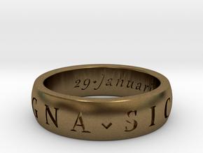 Sir Francis Drake, Sic Parvis Magna Ring Size 8.5 in Natural Bronze