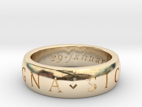 Sir Francis Drake, Sic Parvis Magna Ring Size 7.5 in 14k Gold Plated Brass