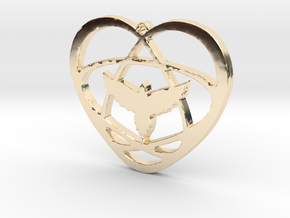 Atom Star Heart Bird 40x3mm Pendant in 14k Gold Plated Brass