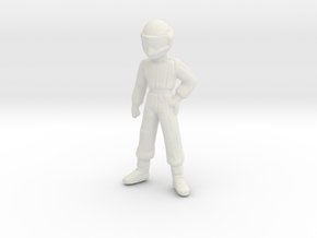 1/24 Young Racing Driver w/ Helmet 1.56 m  in White Natural Versatile Plastic: 1:24
