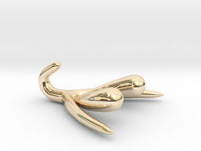 Life-scale Clitoris and Bulbs in 14k Gold Plated Brass