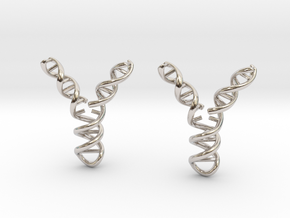 Replicating DNA Earrings in Rhodium Plated Brass