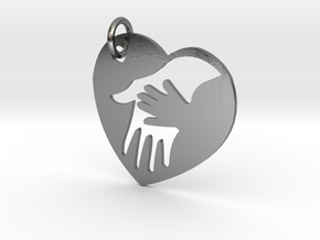 Mother child holding hands in Polished Silver (Interlocking Parts)