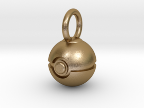 Pokeball pendant in Polished Gold Steel: Small