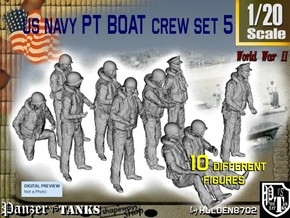 1-20 US Navy PT Boat Crew Set5 in White Natural Versatile Plastic
