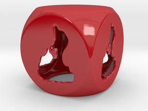 3D Printed Block Island Tea Light 5 in Gloss Red Porcelain