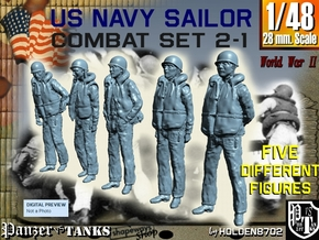 1-48 US Navy Sailors Combat SET 2-1 in Smooth Fine Detail Plastic