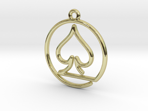 Pike Card Game Pendant in 18k Gold Plated Brass