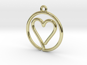 Heart Card Game continuous line Pendant in 18k Gold Plated Brass