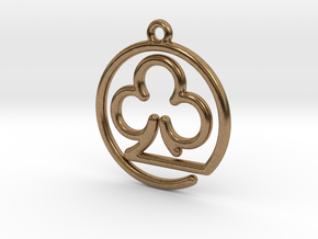 Club Card Game continuous line Pendant in Natural Brass