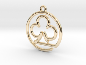 Club Card Game continuous line Pendant in 14K Yellow Gold
