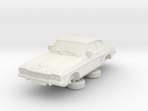1-87 Ford Capri Mk1 3L in White Natural Versatile Plastic