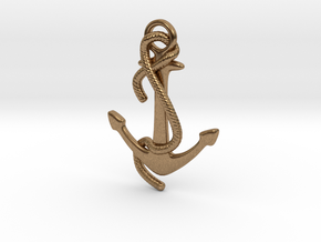 Anchor pendant in Raw Brass: Small