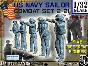 1-32 US Navy Sailors Combat SET 2-21 in Smooth Fine Detail Plastic