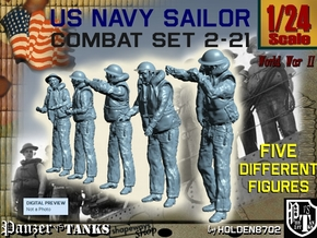 1-24 US Navy Sailors Combat SET 2-21 in White Natural Versatile Plastic