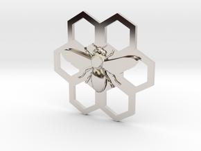Bee Hive Honey Comb Charm Necklace Pendant in Platinum