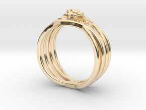 Romantic Rose ring with leaves in 14K Yellow Gold: 6 / 51.5