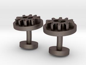 Obi Nka Bi CuffLinks in Polished Bronzed Silver Steel