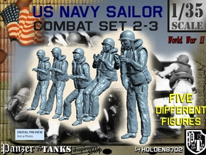 1-35 US Navy Sailors Combat SET 2-3 in Smooth Fine Detail Plastic