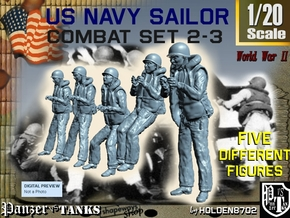 1-20 US Navy Sailors Combat SET 2-3 in White Natural Versatile Plastic