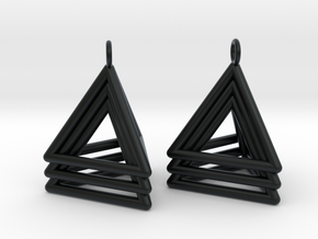 Pyramid triangle earrings type 5 in Black Hi-Def Acrylate