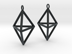 Pyramid triangle earrings type 3 in Black Hi-Def Acrylate