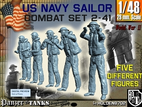 1-48 US Navy Sailors Combat SET 2-41 in Smooth Fine Detail Plastic
